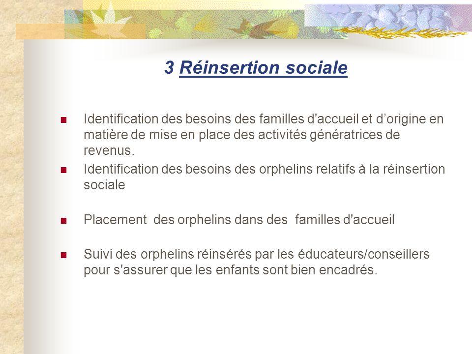 3 Réinsertion sociale Identification des besoins des familles d'accueil et dorigine en matière de mise en place des activités génératrices de revenus.
