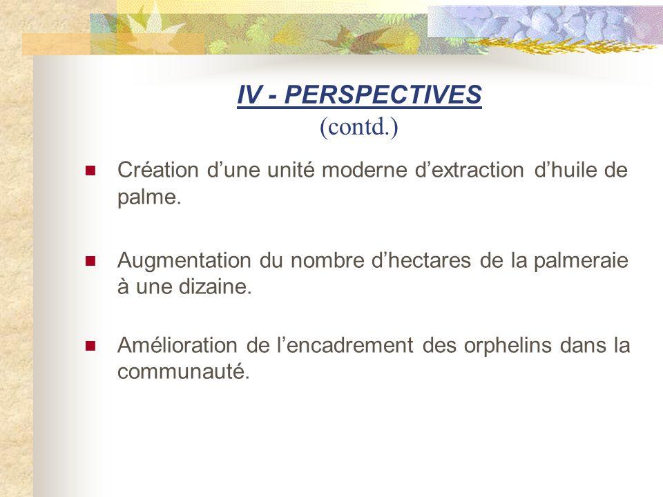 IV - PERSPECTIVES (contd.) Création dune unité moderne dextraction dhuile de palme. Augmentation du nombre dhectares de la palmeraie à une dizaine. Am