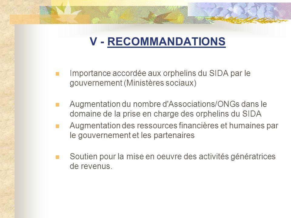 V - RECOMMANDATIONS Importance accordée aux orphelins du SIDA par le gouvernement (Ministères sociaux) Augmentation du nombre d'Associations/ONGs dans
