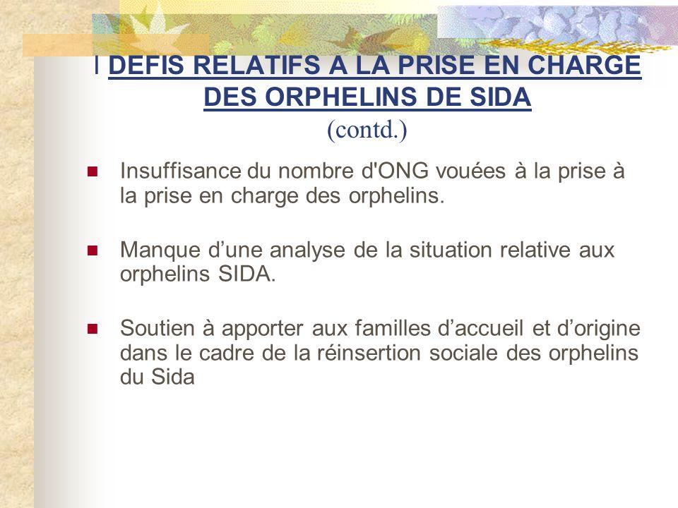 I DEFIS RELATIFS A LA PRISE EN CHARGE DES ORPHELINS DE SIDA (contd.) Formation et accompagnement des familles daccueil et dorigine.