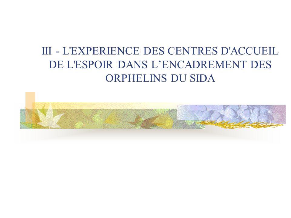 III - L EXPERIENCE DES CENTRES D ACCUEIL DE L ESPOIR DANS LENCADREMENT DES ORPHELINS DU SIDA