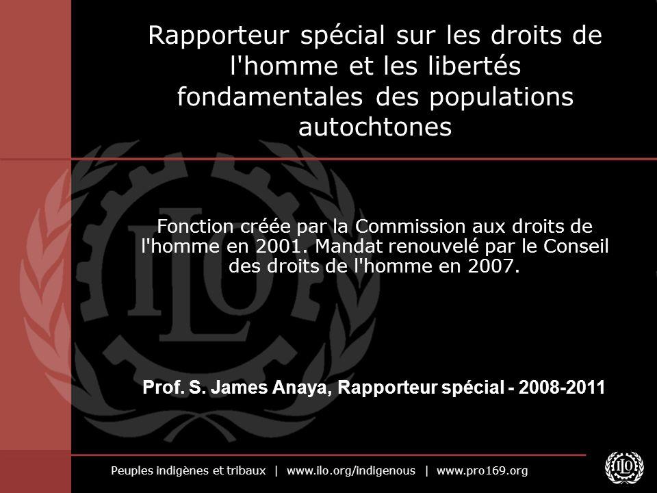 Peuples indigènes et tribaux   www.ilo.org/indigenous   www.pro169.org Rapporteur spécial sur les droits de l'homme et les libertés fondamentales des