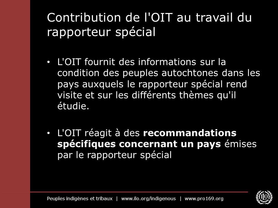 Peuples indigènes et tribaux   www.ilo.org/indigenous   www.pro169.org Contribution de l'OIT au travail du rapporteur spécial L'OIT fournit des inform