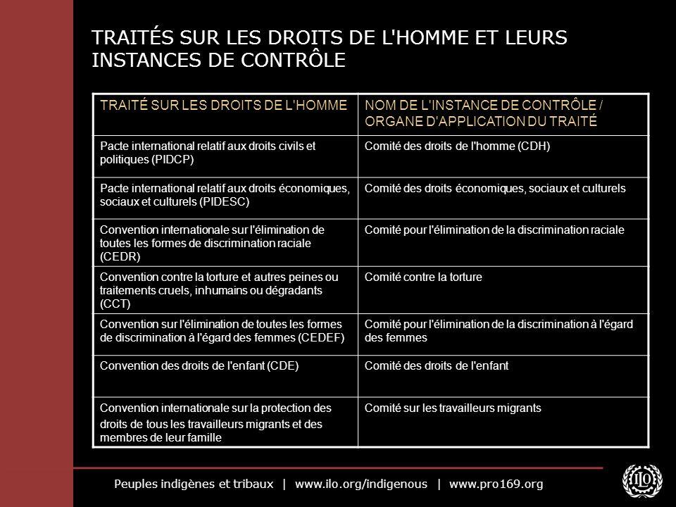 Peuples indigènes et tribaux   www.ilo.org/indigenous   www.pro169.org TRAITÉS SUR LES DROITS DE L'HOMME ET LEURS INSTANCES DE CONTRÔLE TRAITÉ SUR LES