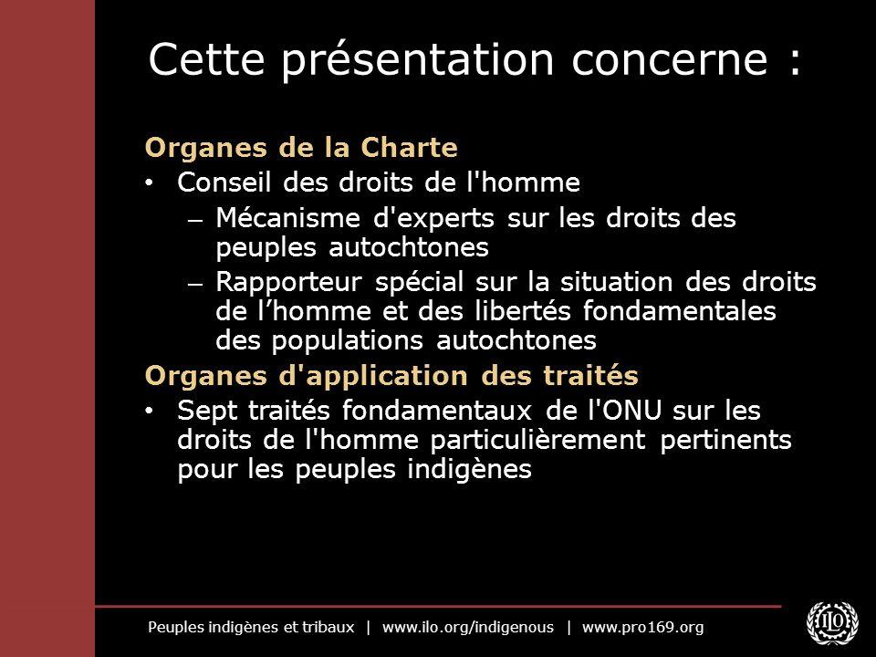 Peuples indigènes et tribaux   www.ilo.org/indigenous   www.pro169.org Cette présentation concerne : Organes de la Charte Conseil des droits de l'homm
