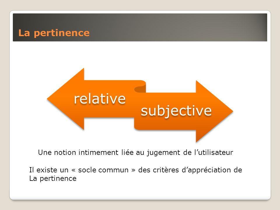 La pertinence Une notion intimement liée au jugement de lutilisateur Il existe un « socle commun » des critères dappréciation de La pertinence