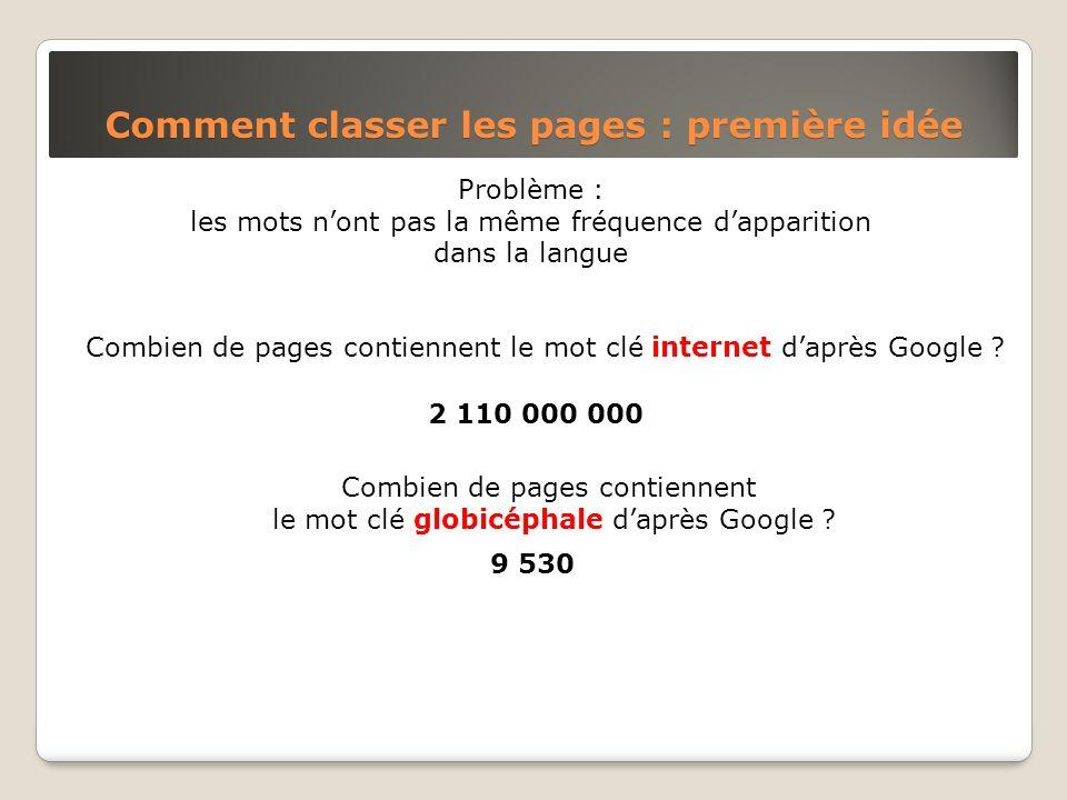 Problème : les mots nont pas la même fréquence dapparition dans la langue Comment classer les pages : première idée Combien de pages contiennent le mo