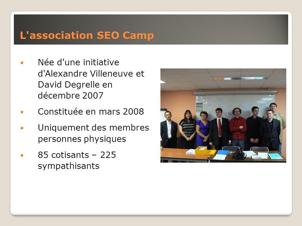 L'association SEO Camp Née d'une initiative d'Alexandre Villeneuve et David Degrelle en décembre 2007 Constituée en mars 2008 Uniquement des membres p