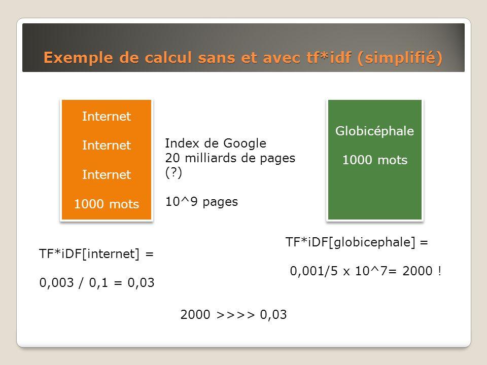 Exemple de calcul sans et avec tf*idf (simplifié) Internet 1000 mots Internet 1000 mots Globicéphale 1000 mots Globicéphale 1000 mots Index de Google