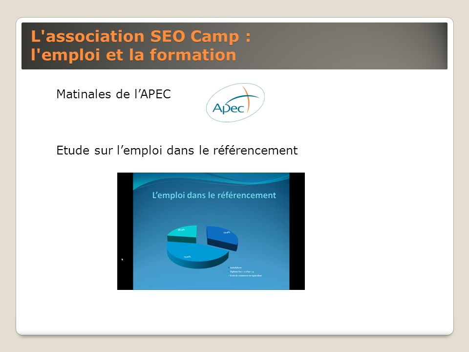 L association SEO Camp : promotion de la profession Interventions dans les évènements destinés aux webmasters (salons emarketing, ecommerce) Articles dans la presse économique Projet de certification et de formation SEO Campus