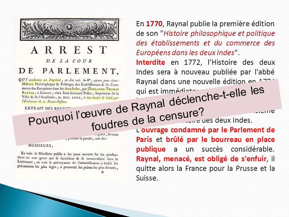 I.Qui est Guillaume-Thomas Raynal .II. Quel projet G.-T.