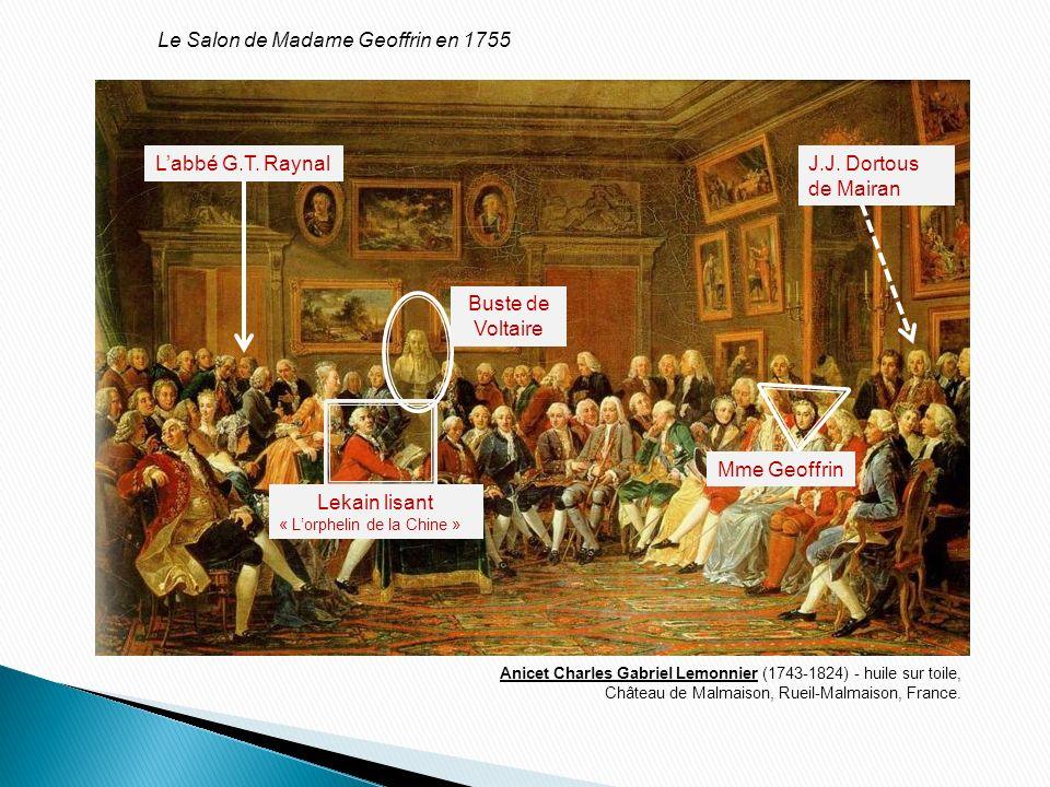 Mme Geoffrin Buste de Voltaire Labbé G.T. RaynalJ.J. Dortous de Mairan Anicet Charles Gabriel Lemonnier (1743-1824) - huile sur toile, Château de Malm