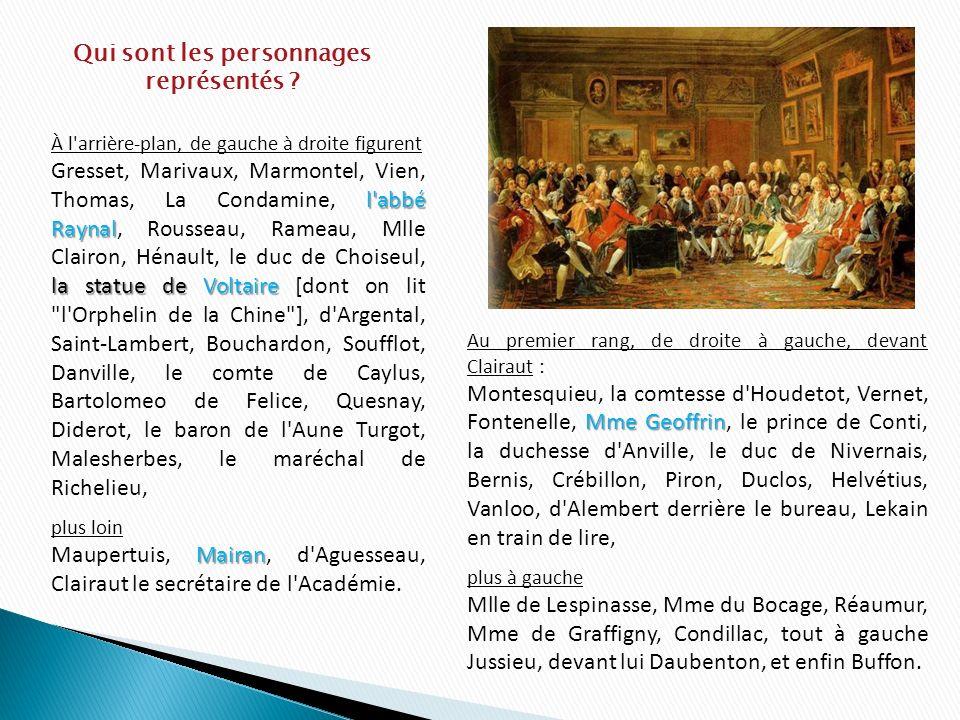 À l'arrière-plan, de gauche à droite figurent l'abbé Raynal la statue de Voltaire Gresset, Marivaux, Marmontel, Vien, Thomas, La Condamine, l'abbé Ray