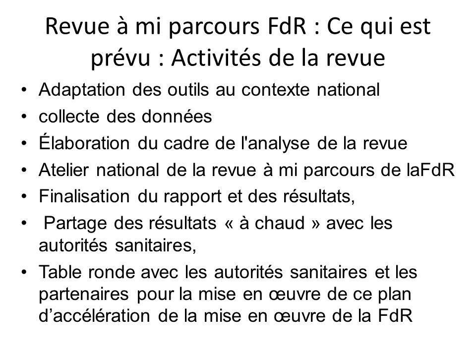 Revue à mi parcours FdR : Ce qui est prévu : Activités de la revue Adaptation des outils au contexte national collecte des données Élaboration du cadr