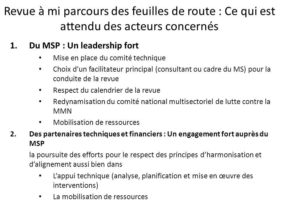 Revue à mi parcours des feuilles de route : Ce qui est attendu des acteurs concernés 1.Du MSP : Un leadership fort Mise en place du comité technique C