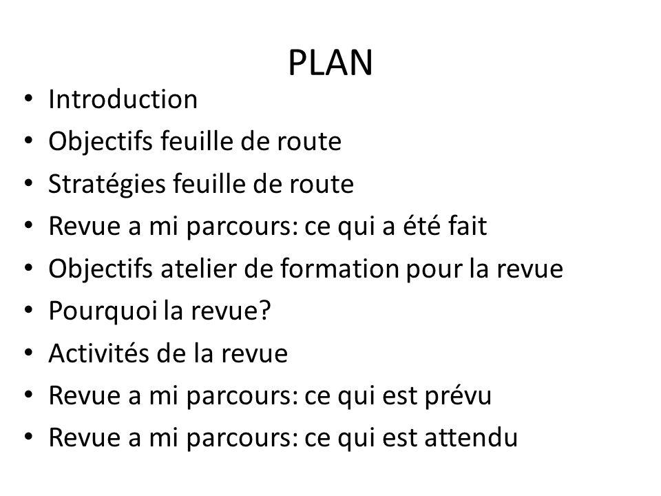PLAN Introduction Objectifs feuille de route Stratégies feuille de route Revue a mi parcours: ce qui a été fait Objectifs atelier de formation pour la