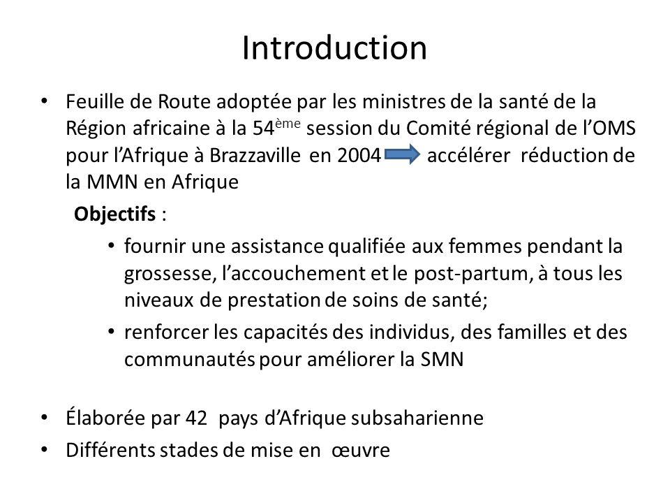 Introduction Feuille de Route adoptée par les ministres de la santé de la Région africaine à la 54 ème session du Comité régional de lOMS pour lAfriqu