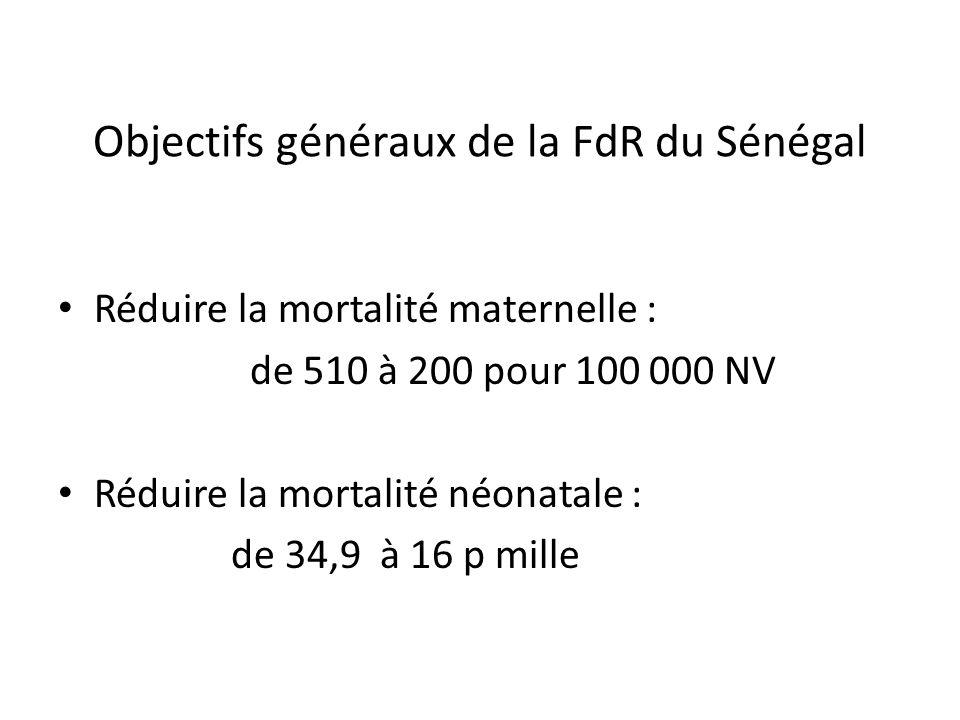 Objectifs généraux de la FdR du Sénégal Réduire la mortalité maternelle : de 510 à 200 pour 100 000 NV Réduire la mortalité néonatale : de 34,9 à 16 p