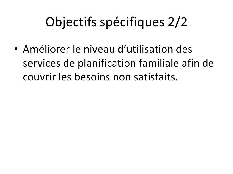 Objectifs spécifiques 2/2 Améliorer le niveau dutilisation des services de planification familiale afin de couvrir les besoins non satisfaits.