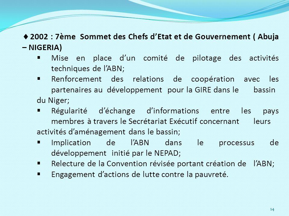 14 2002 : 7ème Sommet des Chefs dEtat et de Gouvernement ( Abuja – NIGERIA) Mise en place dun comité de pilotage des activités techniques de lABN; Ren