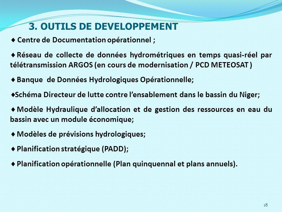 18 3. OUTILS DE DEVELOPPEMENT Centre de Documentation opérationnel ; Réseau de collecte de données hydrométriques en temps quasi-réel par télétransmis