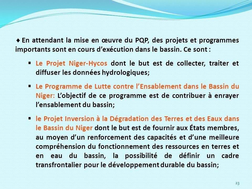 23 En attendant la mise en œuvre du PQP, des projets et programmes importants sont en cours dexécution dans le bassin. Ce sont : Le Projet Niger-Hycos