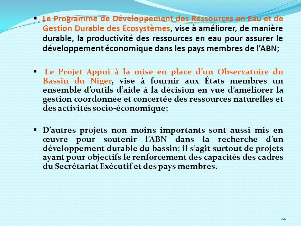 24 Le Programme de Développement des Ressources en Eau et de Gestion Durable des Ecosystèmes, vise à améliorer, de manière durable, la productivité de