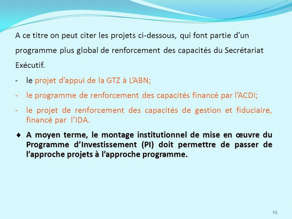 25 A ce titre on peut citer les projets ci-dessous, qui font partie dun programme plus global de renforcement des capacités du Secrétariat Exécutif. -