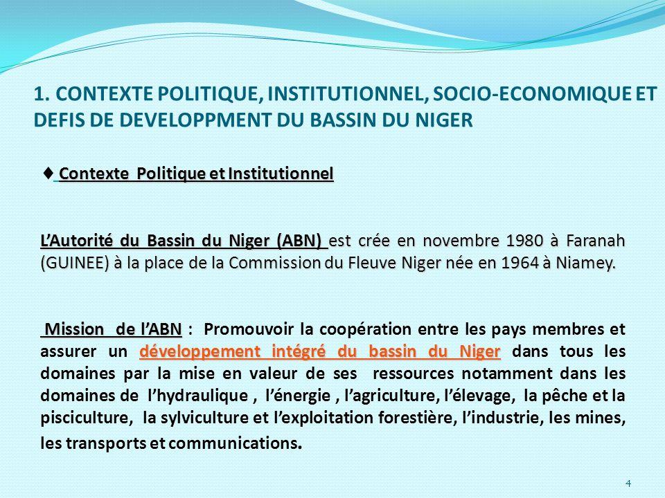 4 Contexte Politique et Institutionnel LAutorité du Bassin du Niger (ABN) est crée en novembre 1980 à Faranah (GUINEE) à la place de la Commission du
