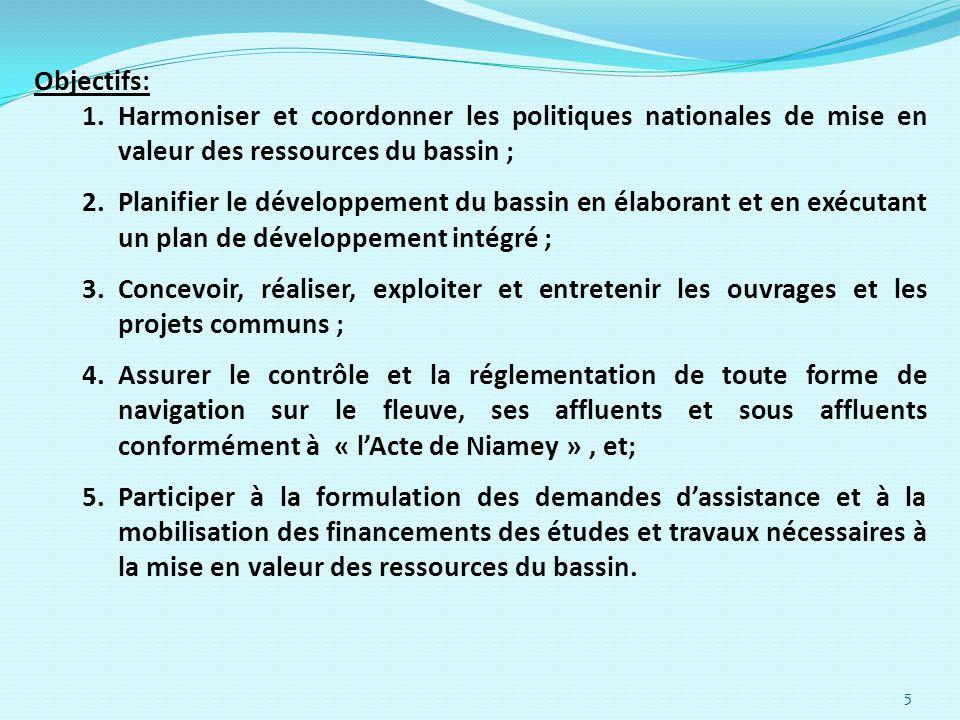 5 Objectifs: 1.Harmoniser et coordonner les politiques nationales de mise en valeur des ressources du bassin ; 2.Planifier le développement du bassin