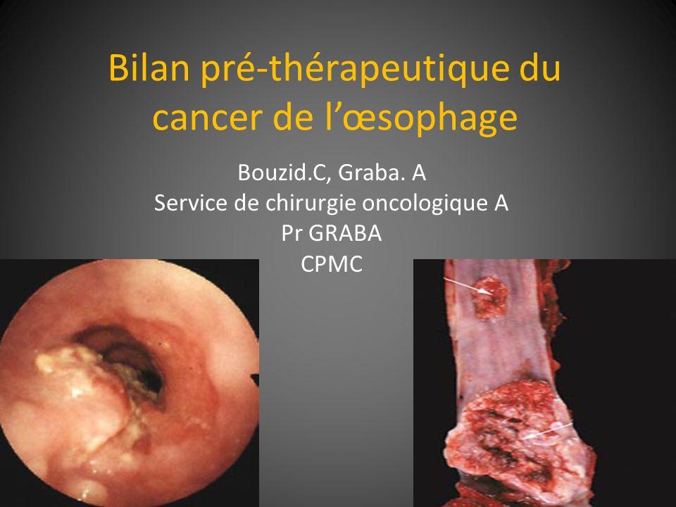 Bilan pré-thérapeutique du cancer de lœsophage Bouzid.C, Graba. A Service de chirurgie oncologique A Pr GRABA CPMC