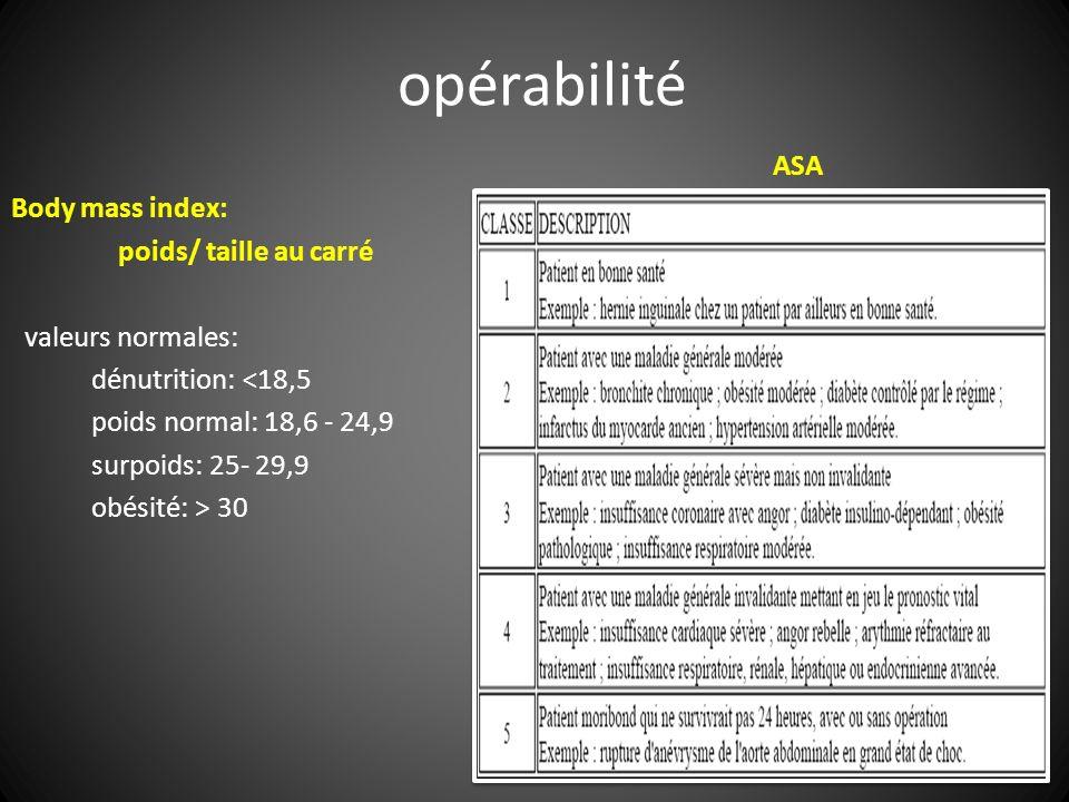 ASA Body mass index: poids/ taille au carré valeurs normales: dénutrition: <18,5 poids normal: 18,6 - 24,9 surpoids: 25- 29,9 obésité: > 30