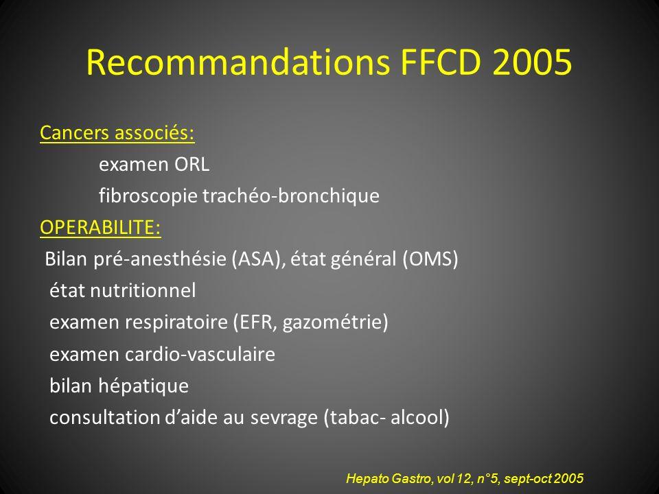 Recommandations FFCD 2005 Cancers associés: examen ORL fibroscopie trachéo-bronchique OPERABILITE: Bilan pré-anesthésie (ASA), état général (OMS) état