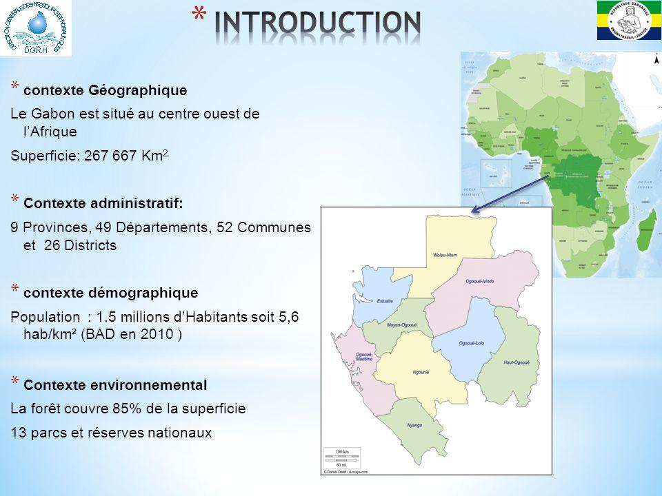 * contexte Hydrographique Réseau hydrographique très dense : 1 rivière tout les 600 m Le fleuve Ogooué est le plus important fleuve du Gabon qui le traverse du SUD EST à LOUEST * Longueur: 1000 Km * Source: au Congo dans les Monts Ntalé à 840m daltitude.