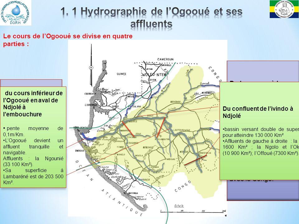 Les lacs * Grande concentration des lacs du Gabon dans la région du Bas-Ogooué : * lacs Evaro, Ezanga, Oguemoué et Onangué sur la rive gauche du fleuve; * les lacs Azingo, Gomè, Opindalwango.
