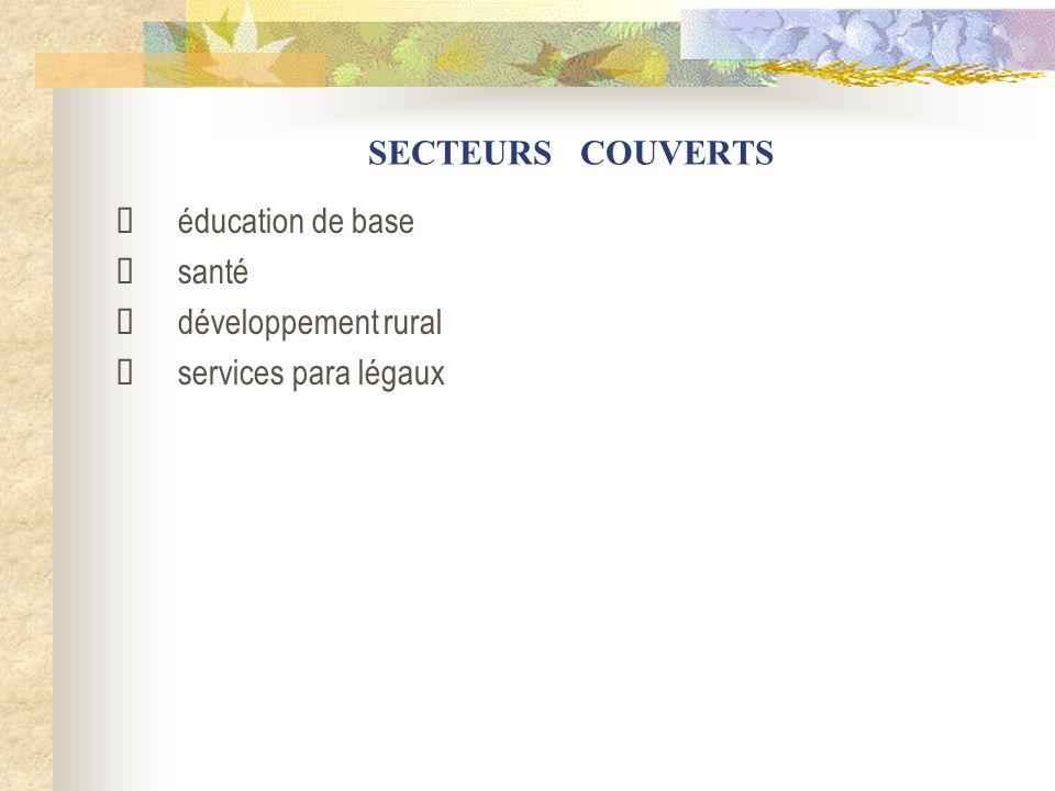 SECTEURS COUVERTS éducation de base santé développement rural services para légaux