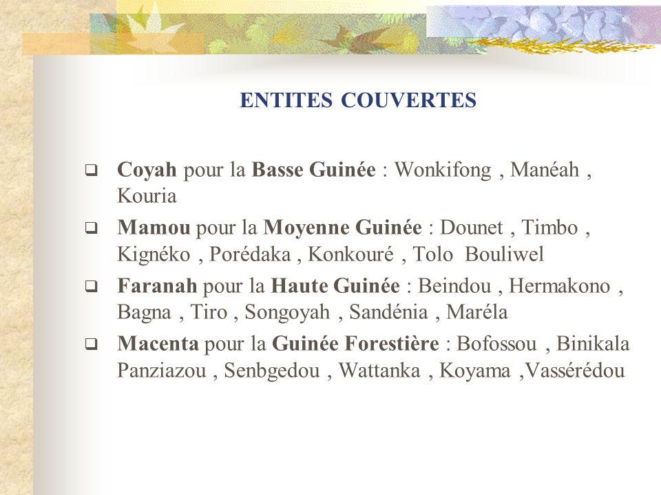 ENTITES COUVERTES Coyah pour la Basse Guinée : Wonkifong, Manéah, Kouria Mamou pour la Moyenne Guinée : Dounet, Timbo, Kignéko, Porédaka, Konkouré, To