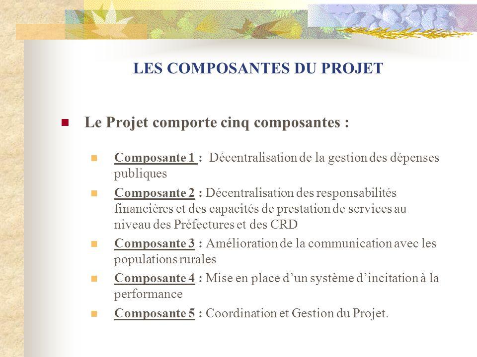 LES COMPOSANTES DU PROJET Le Projet comporte cinq composantes : Composante 1 : Décentralisation de la gestion des dépenses publiques Composante 2 : Dé