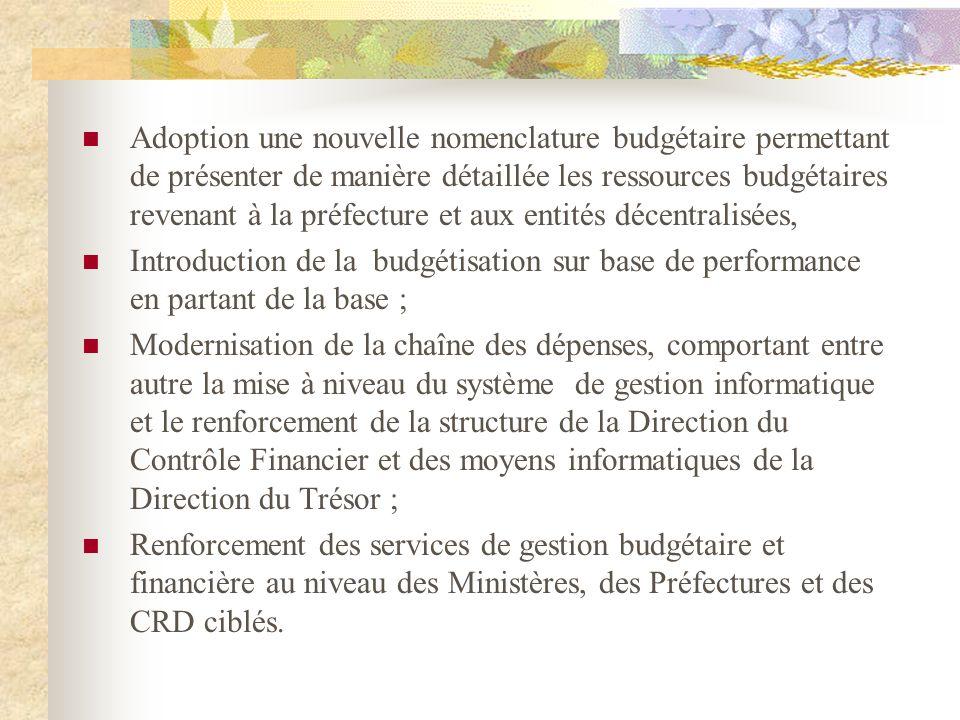 Adoption une nouvelle nomenclature budgétaire permettant de présenter de manière détaillée les ressources budgétaires revenant à la préfecture et aux