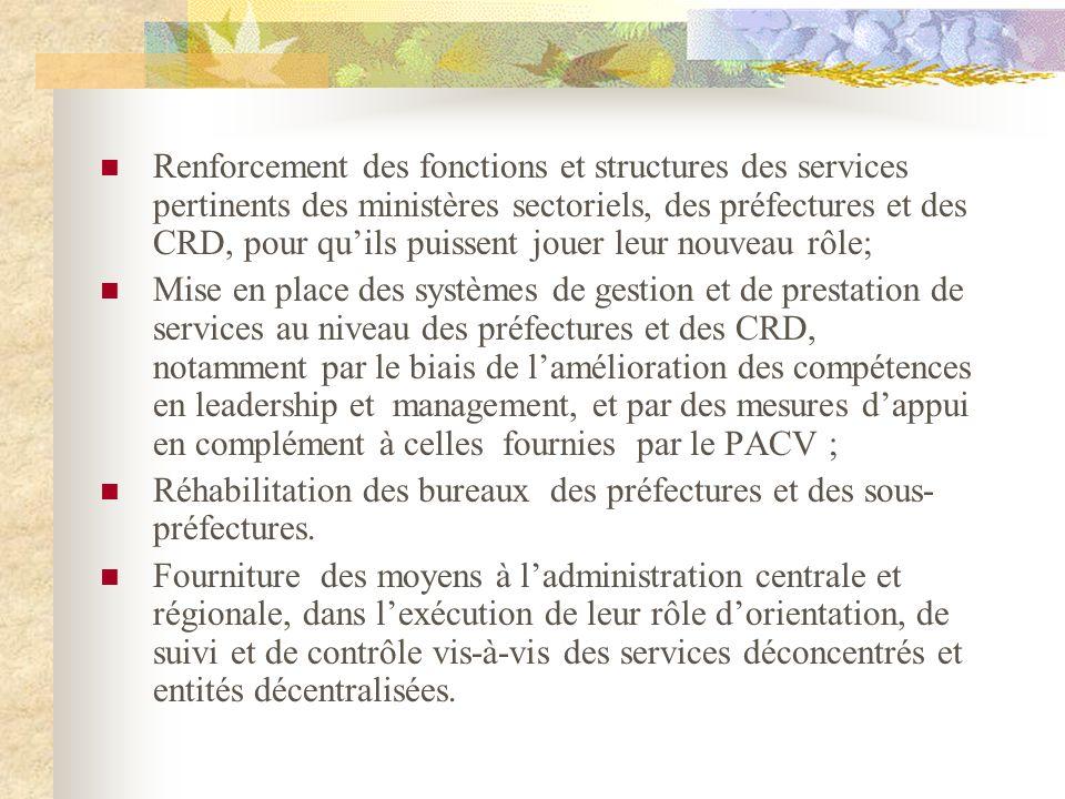 Renforcement des fonctions et structures des services pertinents des ministères sectoriels, des préfectures et des CRD, pour quils puissent jouer leur