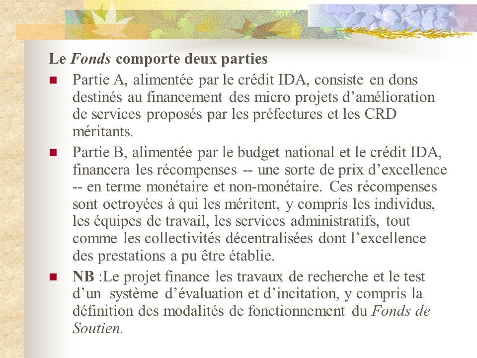Le Fonds comporte deux parties Partie A, alimentée par le crédit IDA, consiste en dons destinés au financement des micro projets damélioration de services proposés par les préfectures et les CRD méritants.