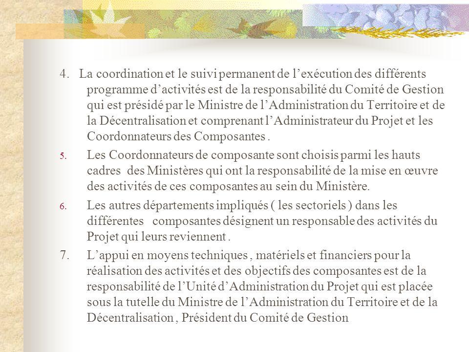 4. La coordination et le suivi permanent de lexécution des différents programme dactivités est de la responsabilité du Comité de Gestion qui est prési