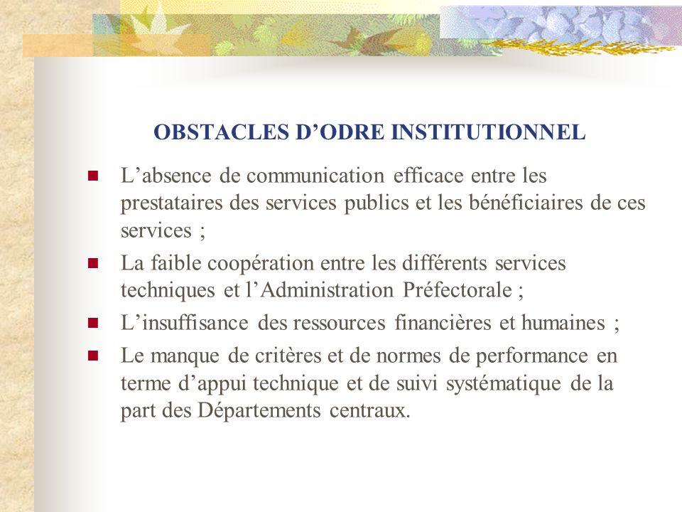 OBSTACLES DODRE INSTITUTIONNEL Labsence de communication efficace entre les prestataires des services publics et les bénéficiaires de ces services ; L