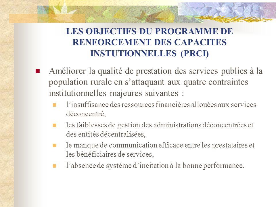 LES OBJECTIFS DU PROGRAMME DE RENFORCEMENT DES CAPACITES INSTUTIONNELLES (PRCI) Améliorer la qualité de prestation des services publics à la populatio