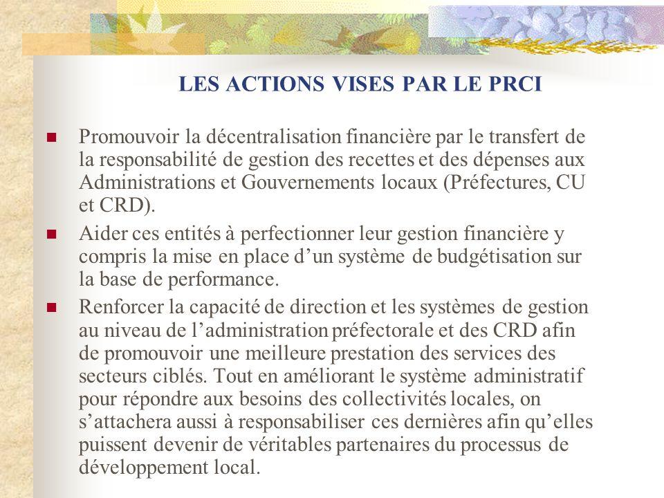 LES ACTIONS VISES PAR LE PRCI Promouvoir la décentralisation financière par le transfert de la responsabilité de gestion des recettes et des dépenses aux Administrations et Gouvernements locaux (Préfectures, CU et CRD).