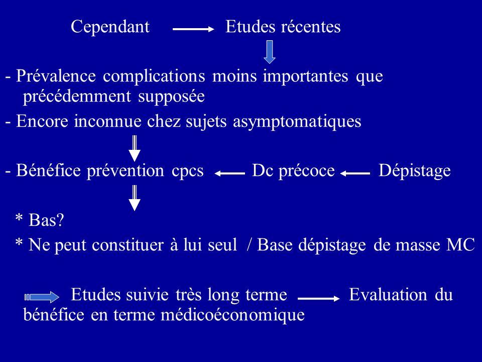 Cependant Etudes récentes - Prévalence complications moins importantes que précédemment supposée - Encore inconnue chez sujets asymptomatiques - Bénéf