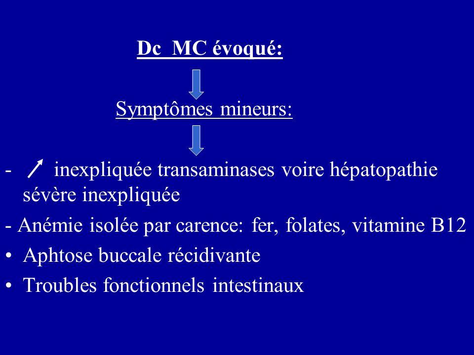 Dc MC évoqué: Symptômes mineurs: - inexpliquée transaminases voire hépatopathie sévère inexpliquée - Anémie isolée par carence: fer, folates, vitamine