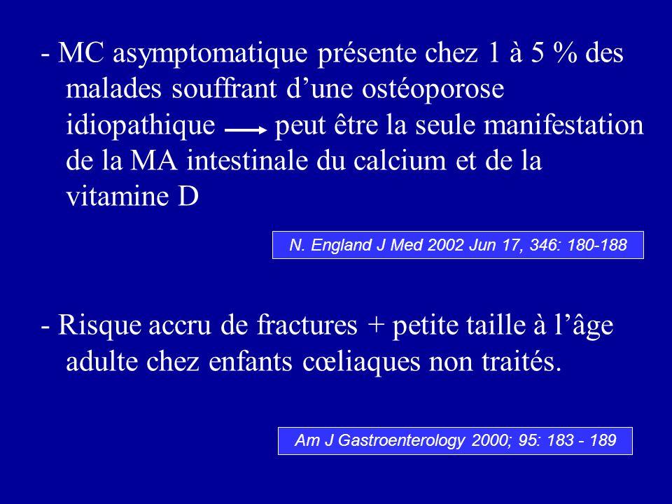 - MC asymptomatique présente chez 1 à 5 % des malades souffrant dune ostéoporose idiopathique peut être la seule manifestation de la MA intestinale du