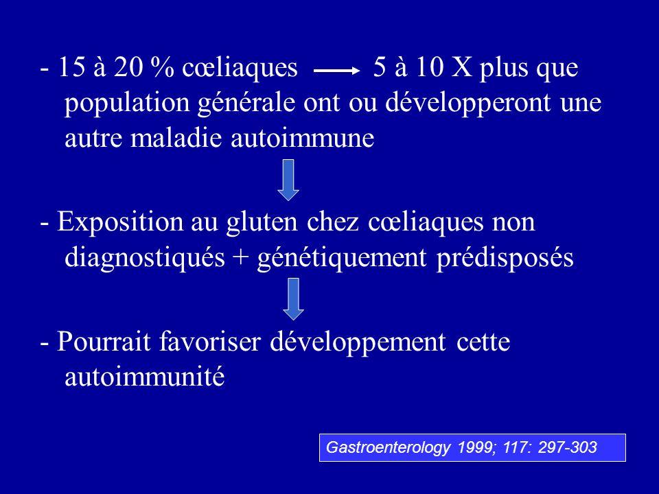 - 15 à 20 % cœliaques 5 à 10 X plus que population générale ont ou développeront une autre maladie autoimmune - Exposition au gluten chez cœliaques no