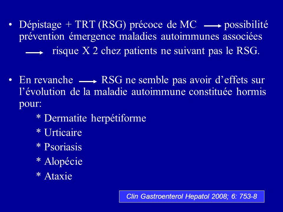 Dépistage + TRT (RSG) précoce de MC possibilité prévention émergence maladies autoimmunes associées risque X 2 chez patients ne suivant pas le RSG. En